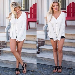 Tops - CARMEN IVORY WHITE THERMAL HENLEY BUTTON KNOT TOP